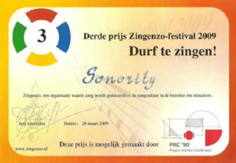 3e prijs voor Sonority
